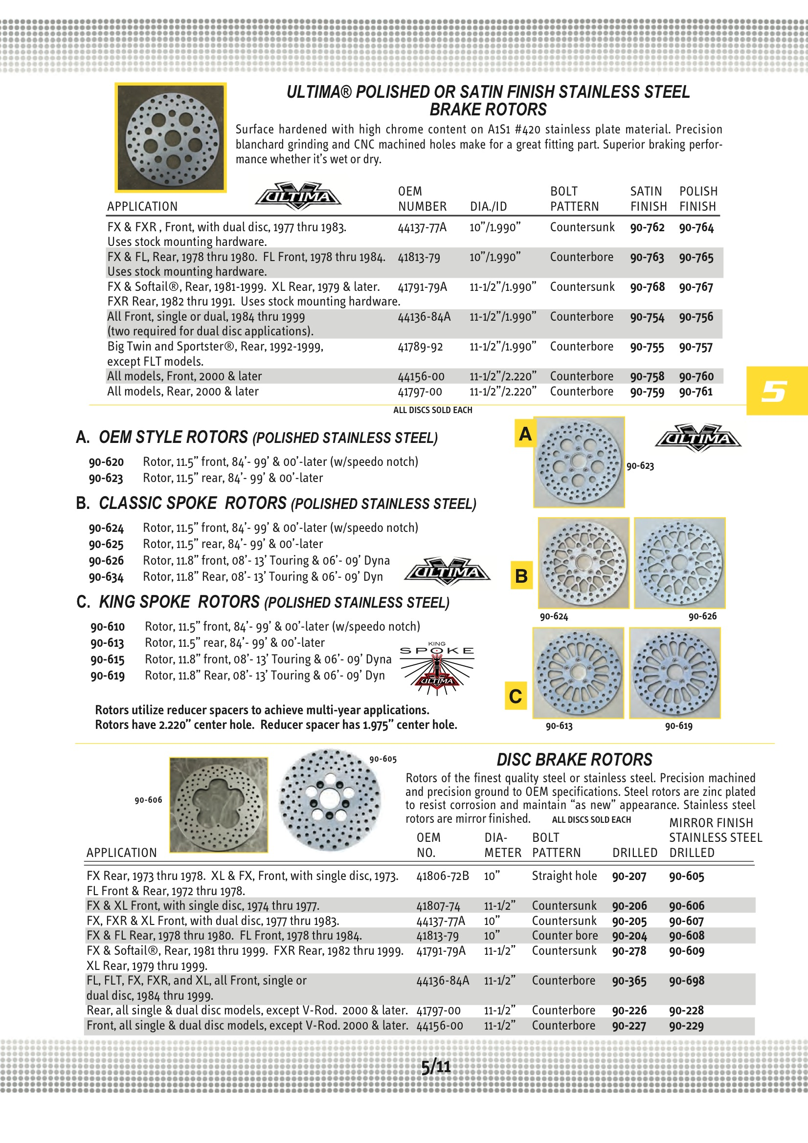 Ultima Polished S.S Kool Kat Rear Brake Rotor for 84-99 /& 00-LTR Harley Models