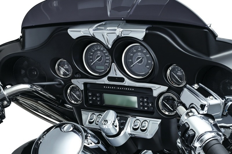 Chrome Stereo Accent Radio Trim Panels For Harley 2014-Later Ultra Classic FLHT